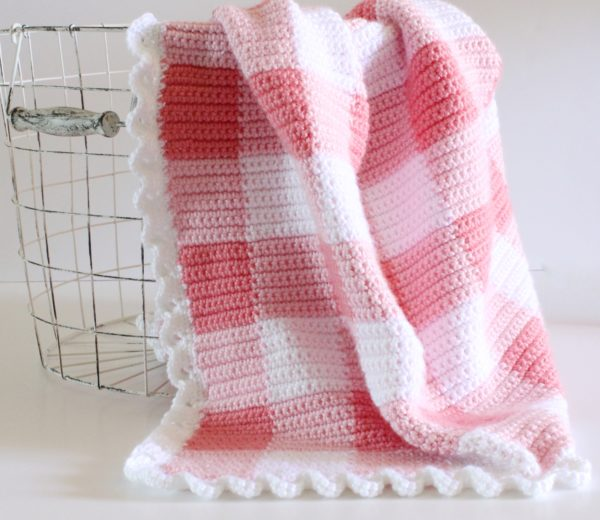pink gingham crochet blanket by daisy farm crafts