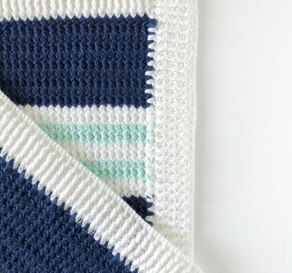 Crochet Modern Nautical Baby Blanket- Daisy Farm Crafts Free Crochet Pattern