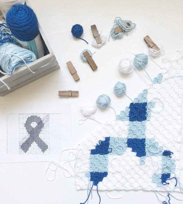 Crochet C2C Cancer Awareness Blanket - Daisy Farm Crafts free pattern