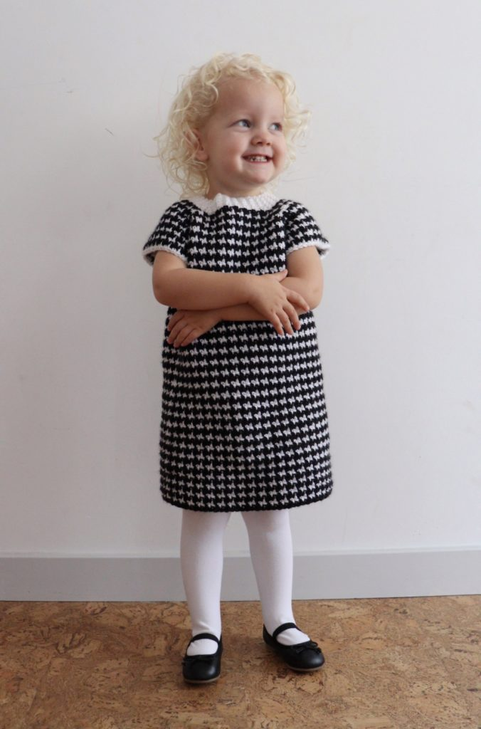 Crochet Houndstooth Baby Sweater Dress