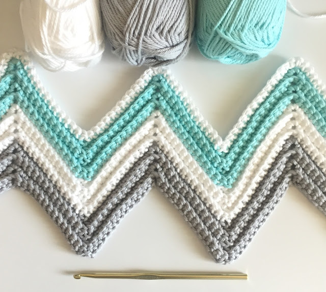 Single Crochet Chevron Blanket in Mint, Gray, and White