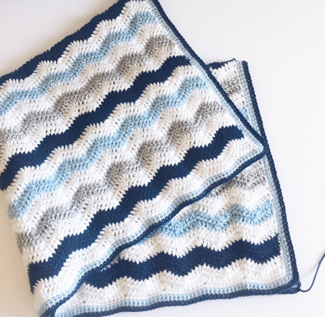 Crochet Ripple Baby Boy Blanket | Daisy Farm Crafts