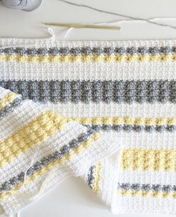 Crochet Gray And Yellow Bobble And Mesh Stitch Blanket Daisy Farm