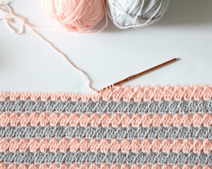 Crochet Modern Granny Blanket in Peach and Grey