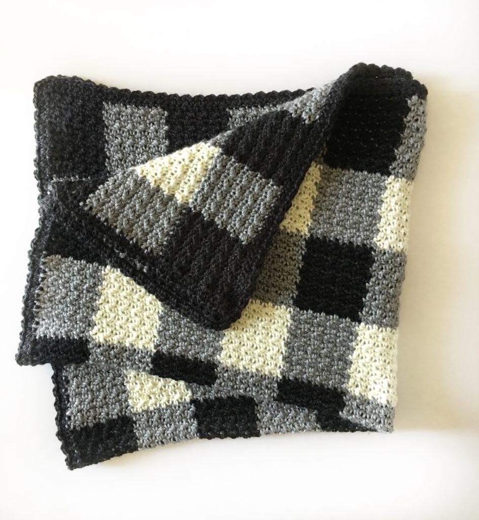 Crochet Griddle Stitch Black Gingham Blanket Daisy Farm