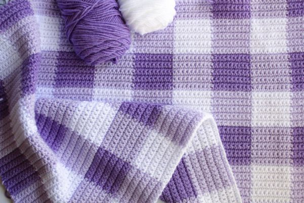 purple gingham crochet blanket