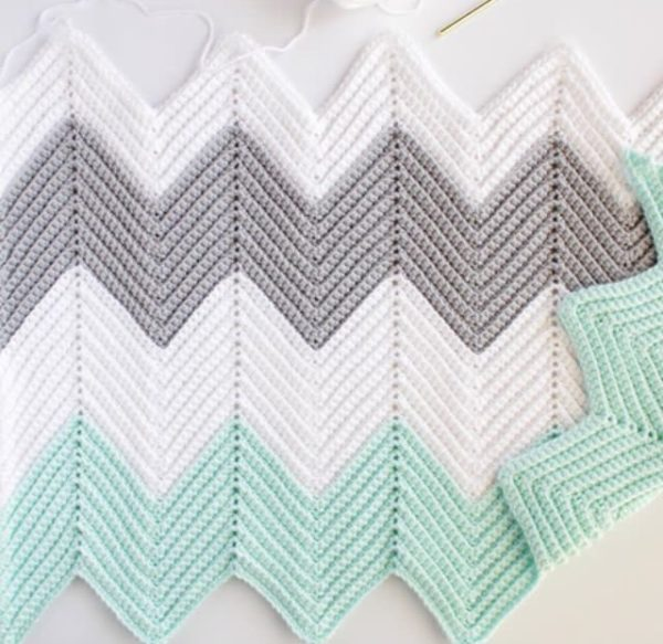 Crochet Chevron Blanket In Mint Dove And White Daisy Farm Crafts