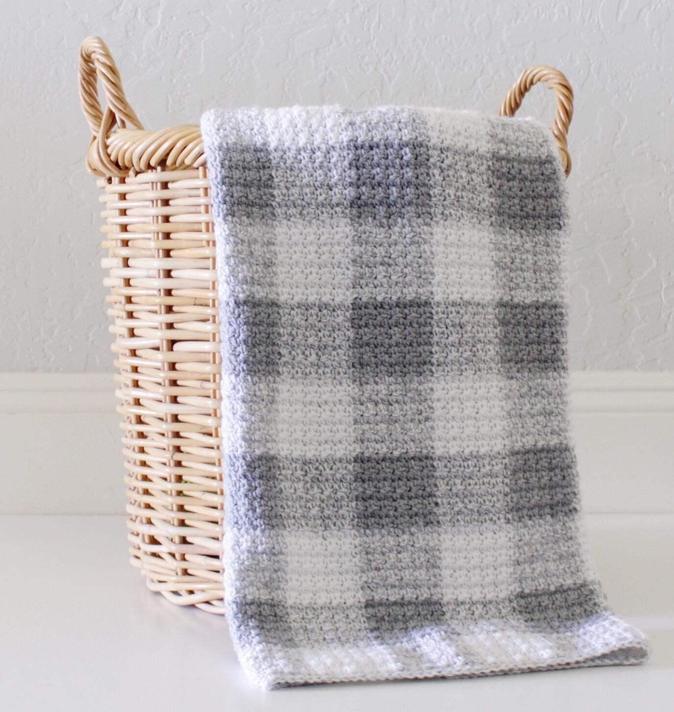 Crochet Grey Gingham Blanket Daisy Farm Crafts
