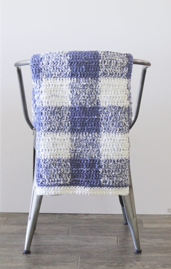 crochet blue gingham blanket