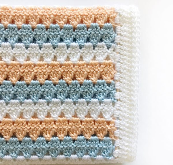 Crochet Modern Granny Blanket In Peach And Blue Daisy Farm Crafts