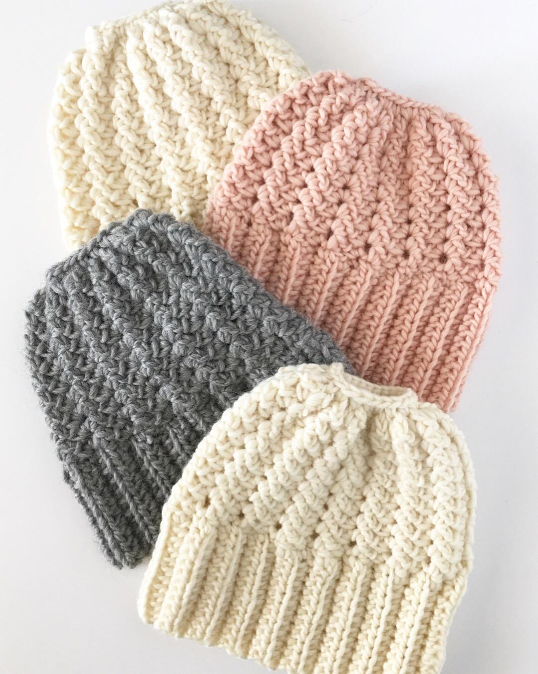 Crochet Sprig Stitch Bun Beanie Daisy Farm Crafts