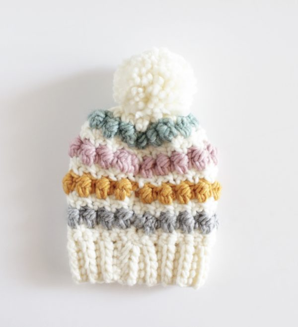 crochet even berry stitch baby hat