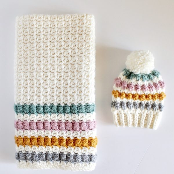 crochet even berry stitch blanket