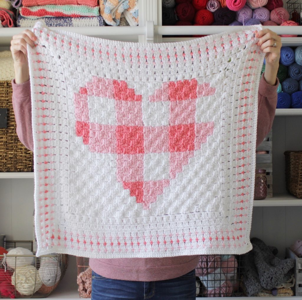 Crochet Gingham Heart Blanket Daisy Farm Crafts