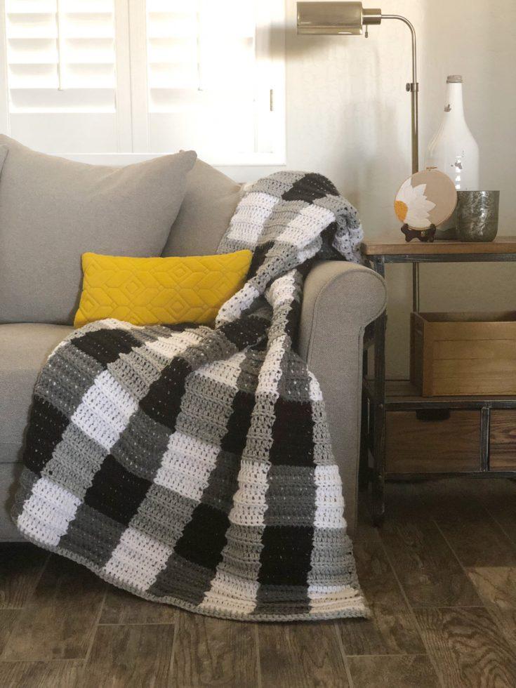 Crochet Buffalo Check Gingham Blanket