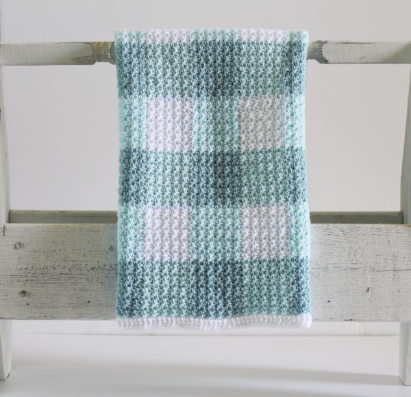 Crochet Teal Gingham Blanket Pattern by Daisy Farm Crafts