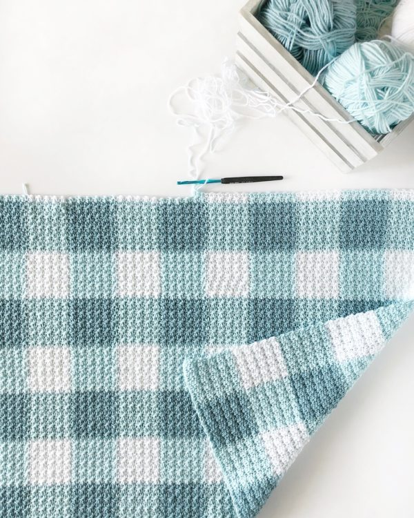 Crochet Gingham Teal Blanket by Daisy Farm Crafts