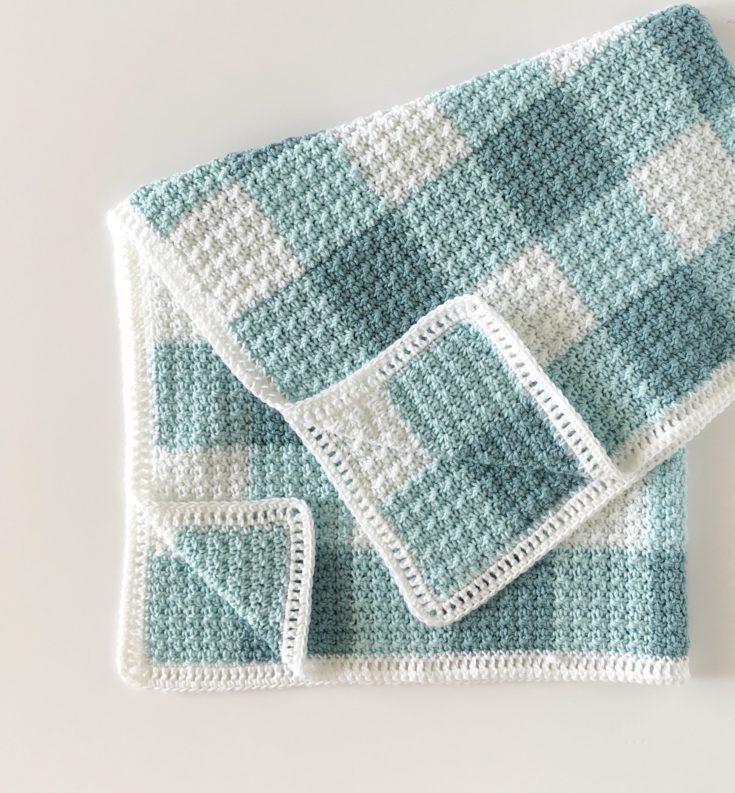 Crochet Teal Gingham Blanket
