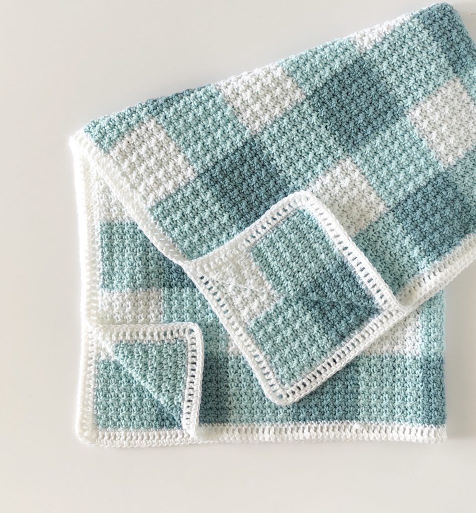 crochet teal gingham blanket by daisy farm crafts