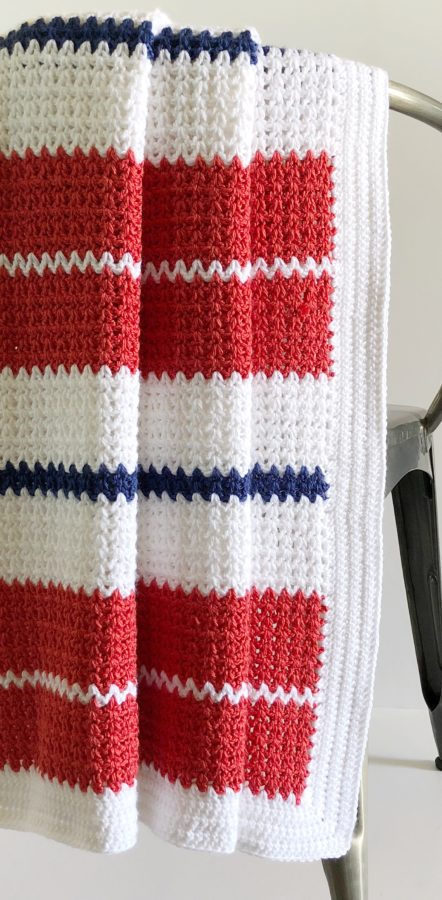Crochet Modern V-Stitch Blanket in Red, White and Blue