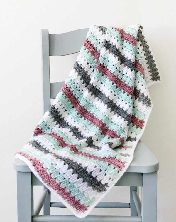 Crochet Striped Modern Granny Blanket