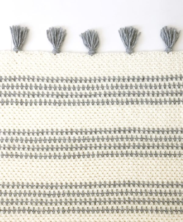 Crochet Striped Moss Stitch Throw
