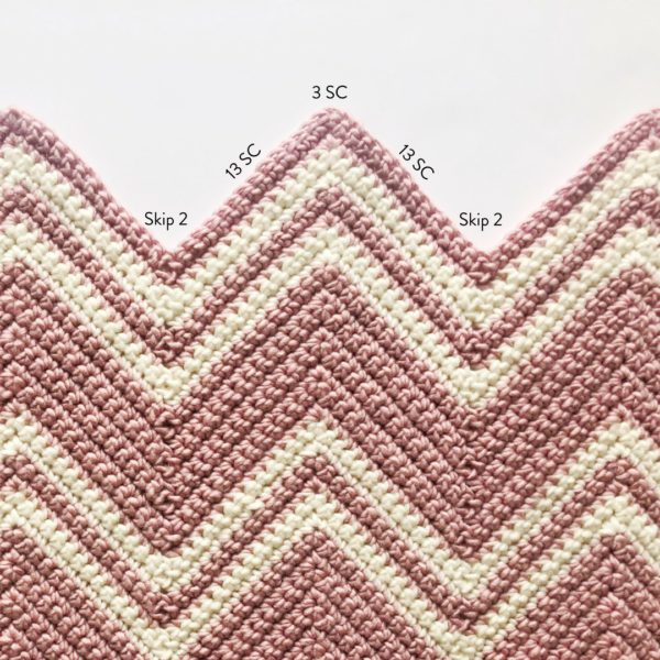 Crochet Pink Chevron Throw
