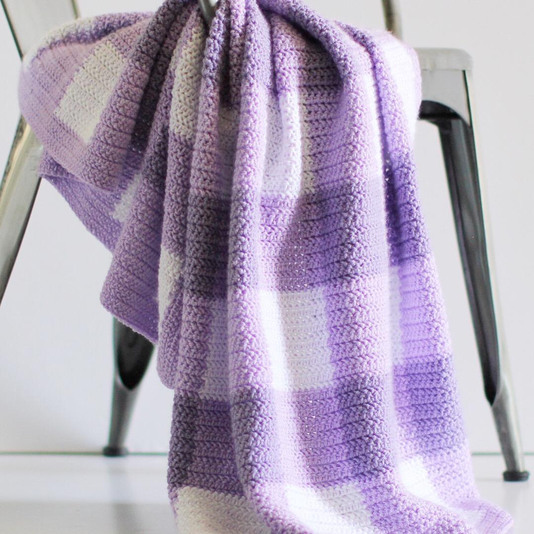 Crochet Herringbone Half Gingham Blanket