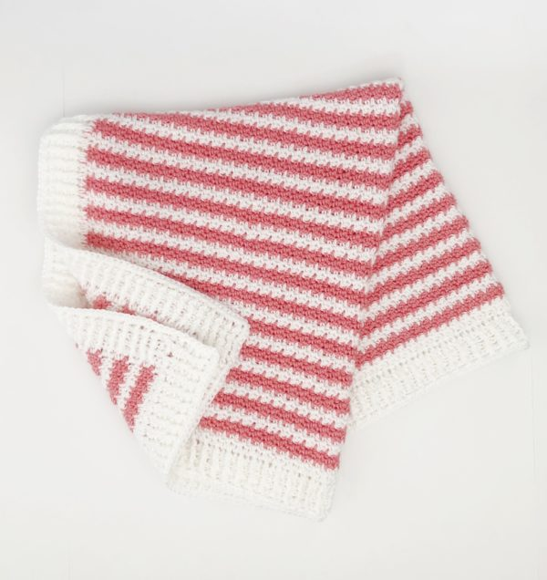 Crochet Strawberry Stripes Baby Blanket