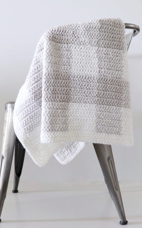 grey gingham blanket crochet