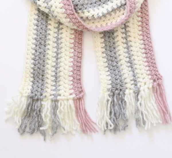 Crochet Pink and Gray Striped Scarf
