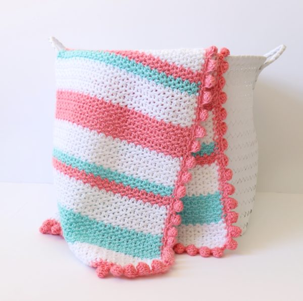 Crochet Striped V-Stitch Blanket