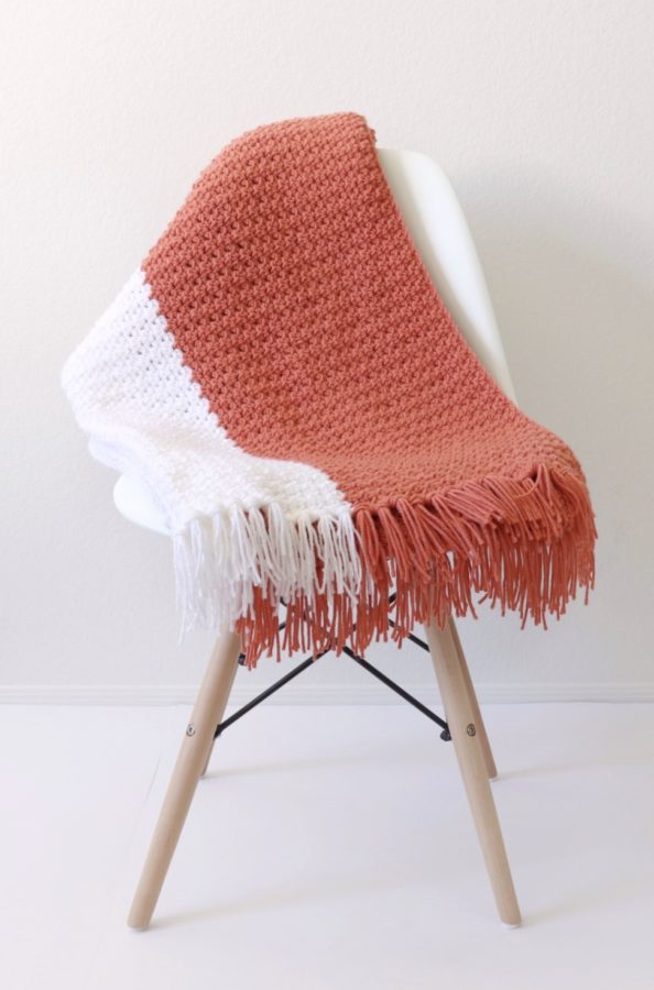 Crochet Terra Cotta Throw