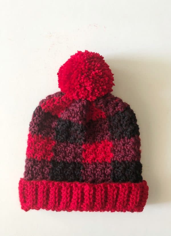 crochet hat buffalo check