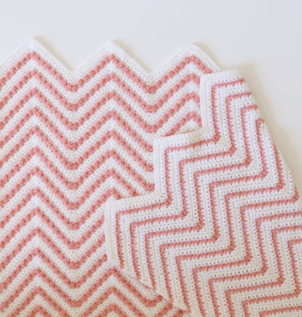 Crochet Berry Chevron Baby Blanket