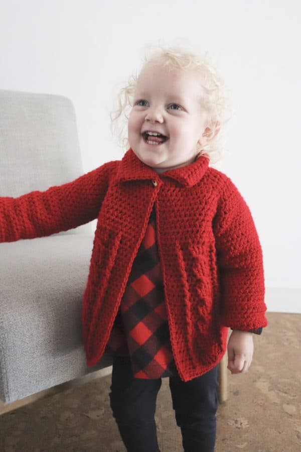Red Cable Twist Crochet Sweater