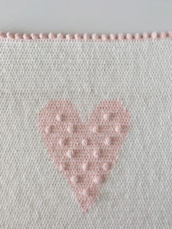 Crochet Polka Dot Heart Doll Blanket Daisy Farm Crafts