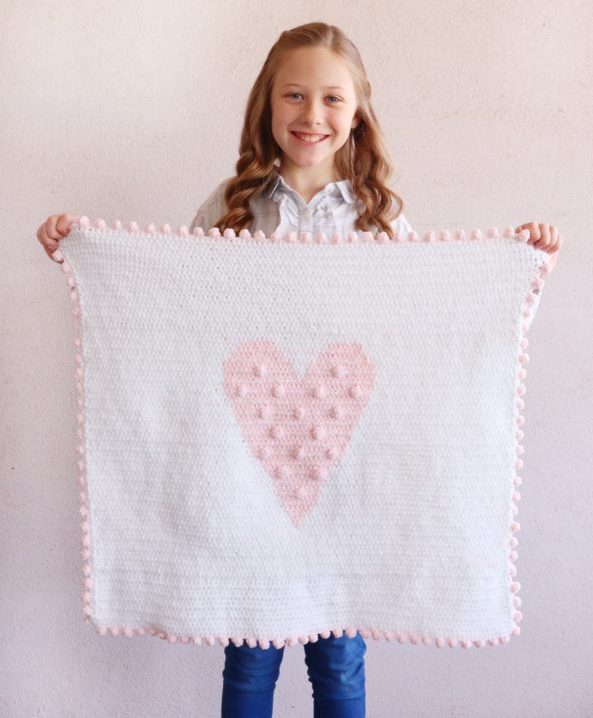 Crochet Polka Dot Heart Doll Blanket