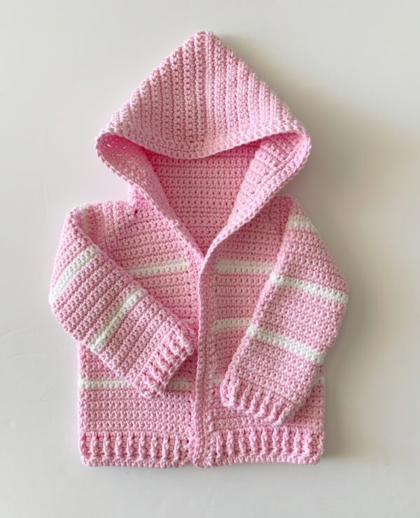 ebf7c147f3c Pink Single Crochet Baby Sweater