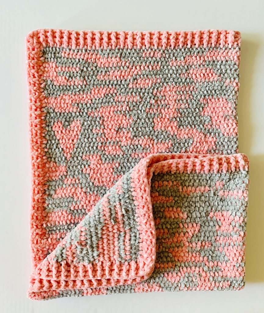 Improv Crochet Baby Blanket in Pink and grey velvet