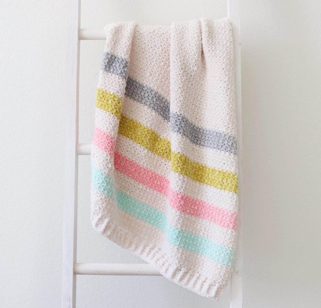 Crochet Unicorn Stripes Baby Blanket