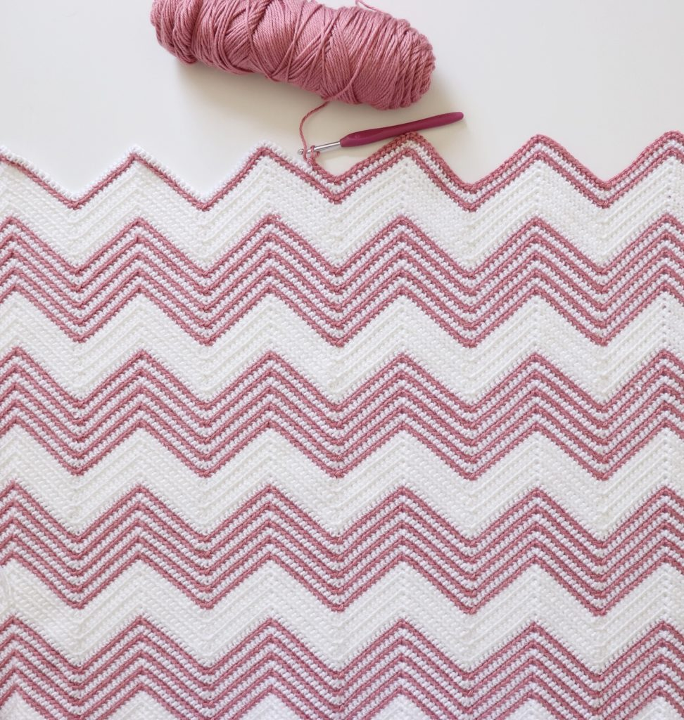 Crochet Front Loop Chevron Blanket