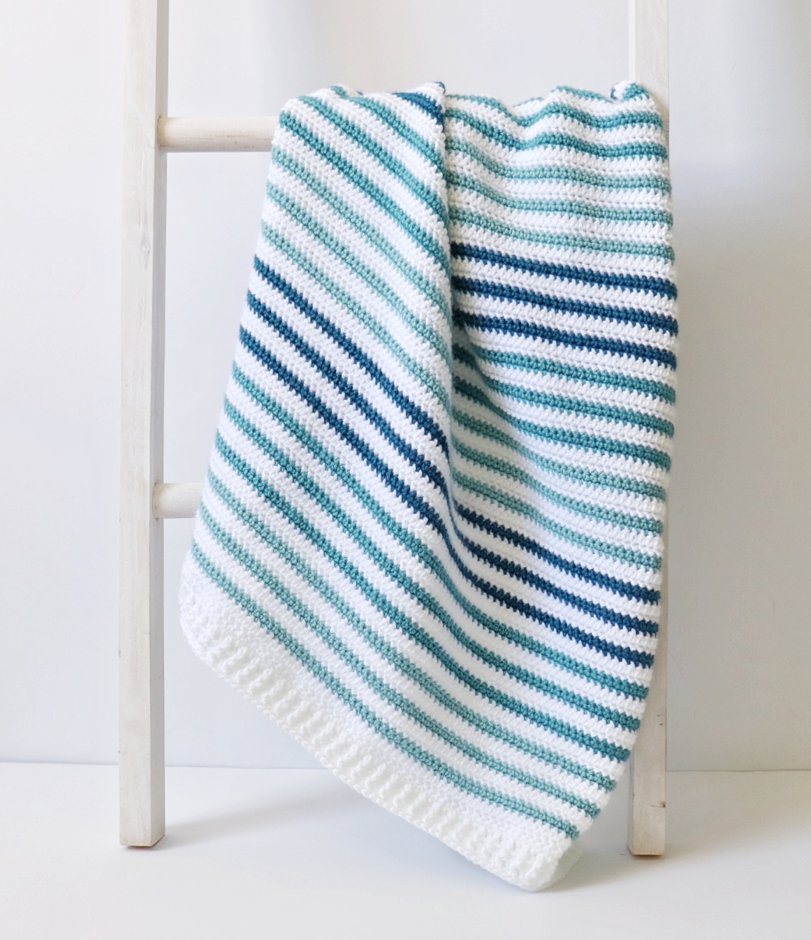 Crochet Teal Stripes Baby Blanket Daisy Farm Crafts