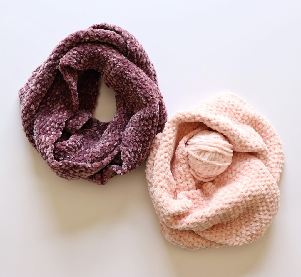 Simple Crochet Velvet Infinity Scarf