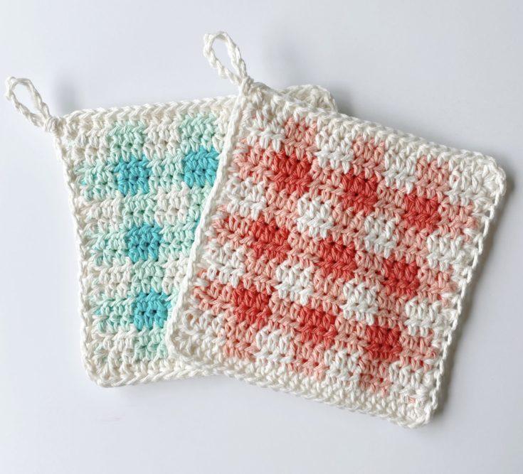 Crochet Picnic Gingham Hot Pads