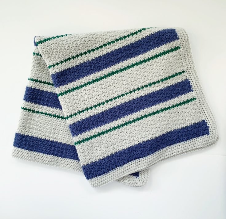 Crochet Griddle Stitch Stripes Baby Blanket