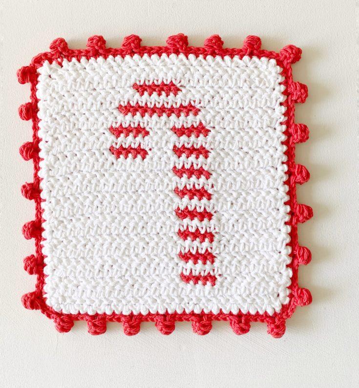 Crochet Candy Cane Hot Pad