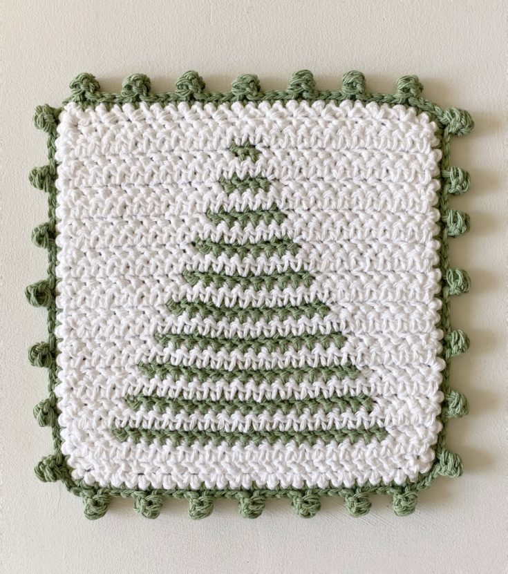 Crochet Tree Stripe Hot Pad with Dot Border