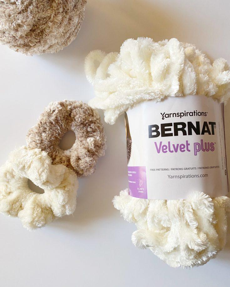 Crochet Bernat Velvet Plus Scrunchies